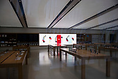 New York, New York<br /> March 20, 2020<br /> 2:40 PM<br /> <br /> Manhattan under the coronavirus pandemic. <br /> <br /> The closed Apple store in the Oculus, a terminal station on the PATH system, within the World Trade Center complex in the Financial District of Manhattan.