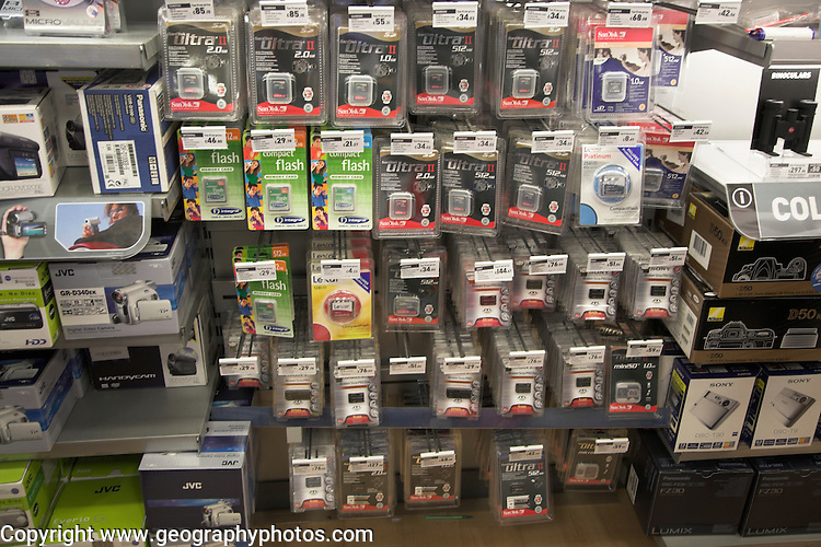 Electronics shop selling flash memory cards, Stanstead airport, Essex, England Stanstead airport, Essex, England, UK