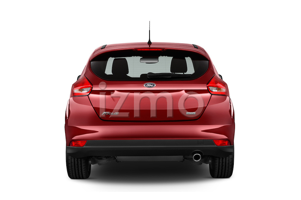 Straight rear view of a 2015 Ford Focus Titanium 5 Door Hatchback Rear View  stock images