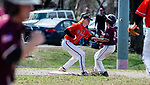 WATERBURY,  CT-041319JS19- Watertown's Colin Cronin  (14) tags out Sacred Heart's Eduardo Romero (3) at third base during their game Saturday at Waterville Park in Waterbury. <br /> Jim Shannon Republican American