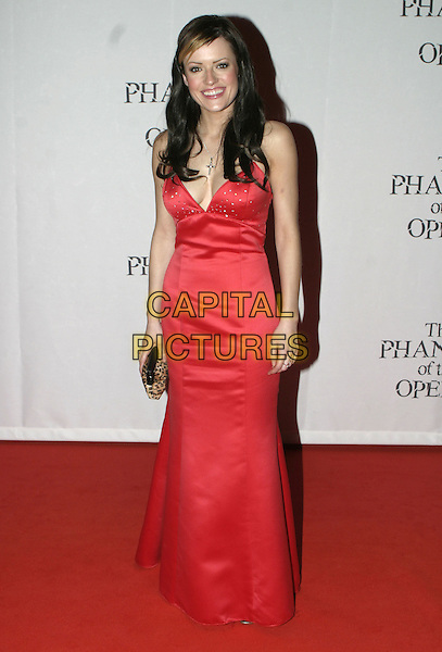 "HAYLEY EVETTS.""The Phantom of the Opera"" World Premiere,.Grand Hotel Olympia, London, December 6th 2004..full length red satin dress.Ref: AH.www.capitalpictures.com.sales@capitalpictures.com.©Capital Pictures."