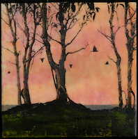 Encaustic painting with photography in red and orange of birds flying in sunset sky through a grove.