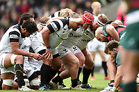 John Afoa of Bristol Bears prepares to scrummage against his opposite number. Gallagher Premiership match, between Leicester Tigers and Bristol Bears on April 27, 2019 at Welford Road in Leicester, England. Photo by: Patrick Khachfe / JMP