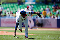 7 March 2009:  #36 Edinson Volquez of The Dominican Republic fails to grab a infield ball against The Netherlandsduring the 2009 World Baseball Classic Pool D match at Hiram Bithorn Stadium in San Juan, Puerto Rico. Netherlands pulled off a huge upset in their World Baseball Classic opener with a 3-2 victory over Dominican Republic.