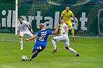 13.07.2019, Parkstadion, Zell am Ziller, AUT, FSP, Werder Bremen vs. Darmstadt 98<br /> <br /> im Bild / picture shows <br /> 0 :1 Patrick Herrmann (Darmstadt 98 #37)  gegen Jiri Pavlenka (Werder Bremen #01) <br /> Ludwig Augustinsson (Werder Bremen #05)<br /> Marco Friedl (Werder Bremen #32)<br /> <br /> Foto © nordphoto / Kokenge