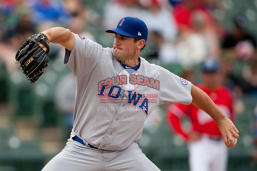 Iowa Cubs pitcher Ryan Rowland-Smith #18 delivers during the Pacific Coast League baseball game against the Round Rock Express on April 15, 2012 at the Dell Diamond in Round Rock, Texas. The Express beat the Cubs 11-10 in 13 innings. (Andrew Woolley / Four Seam Images)..
