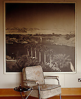 An armchair upholstered in spotted pony skin sits in front of a enlarged sepia print of the Nile