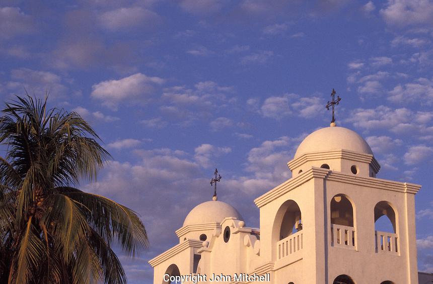 Church in town of Flores, Lake Peten Itza, El Peten, Guatemala