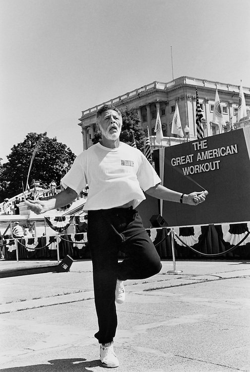 Rep. Ron Dellums, D-Calif. jumping rope prior to the Big Event. May 1991. (Photo by Maureen Keating/CQ Roll Call)