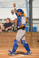 Catcher Fernando Cruz #16 of the Burlington Royals lets his defense know there are two outs at Howard Johnson Stadium June 27, 2009 in Johnson City, Tennessee. (Photo by Brian Westerholt / Four Seam Images)