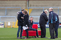 Wycombe Manager Gareth Ainsworth looks on as Bill Turnbull takes a penalty During BBC Breakfast as they air their live broadcast on Tuesday morning, presented by Bill Turnbull for his penultimate appearance on the programme at Adams Park, High Wycombe, England on 23 February 2016. Photo by Andy Rowland.