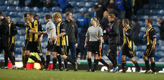 Assistant referee Lorraine Clark walks off after putting in a great performance at Ibrox running the line