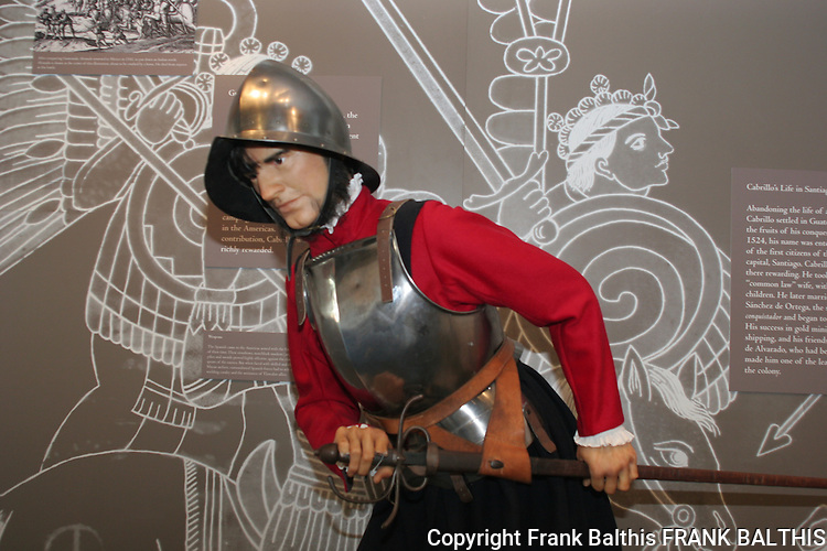 Man in armor at museum at Cabrillo National Monument