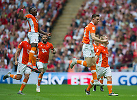 Blackpool players celebrating second goal during the Sky Bet League 2 PLAY OFF FINAL match between Exeter City and Blackpool at Wembley Stadium, London, England on 28 May 2017. Photo by Andrew Aleksiejczuk.
