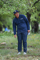 Byeong Hun An (KOR) looks over his chip from the trees on 12 during day 4 of the Valero Texas Open, at the TPC San Antonio Oaks Course, San Antonio, Texas, USA. 4/7/2019.<br /> Picture: Golffile | Ken Murray<br /> <br /> <br /> All photo usage must carry mandatory copyright credit (© Golffile | Ken Murray)