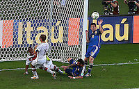 Jerome Boateng of Germany clears off the goal line from Lionel Messi of Argentina with Germany goalkeeper Manuel Neuer out of his goal