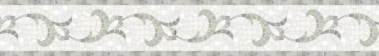 "Marabel, a natural stone hand cut 6"" mosaic border in Afyon White and polished Thassos, is part of the Silk Road Collection by New Ravenna."