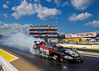 Aug 15, 2014; Brainerd, MN, USA; NHRA funny car driver Dale Creasy Jr during qualifying for the Lucas Oil Nationals at Brainerd International Raceway. Mandatory Credit: Mark J. Rebilas-