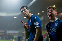 27th December 2019; Dens Park, Dundee, Scotland; Scottish Championship Football, Dundee Football Club versus Dundee United; Graham Dorrans of Dundee celebrates after scoring for 1-1 with Finlay Robertson - Editorial Use