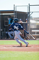 Milwaukee Brewers second baseman Yeison Coca (96) follows through on his swing during an Instructional League game against the San Diego Padres at Peoria Sports Complex on September 21, 2018 in Peoria, Arizona. (Zachary Lucy/Four Seam Images)