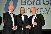 At the Bord G&aacute;is Energy Munster GAA Sports Star of the Year Awards in The Malton Hotel, Killarney on Saturday night were front from left, Dave Kirwan, Managing Director, Bord Gais Enerergy, referee David Copps and Robert Frost, Chairman, Munster GAA.<br /> Picture by Don MacMonagle<br /> <br /> PR photo from Munster Council