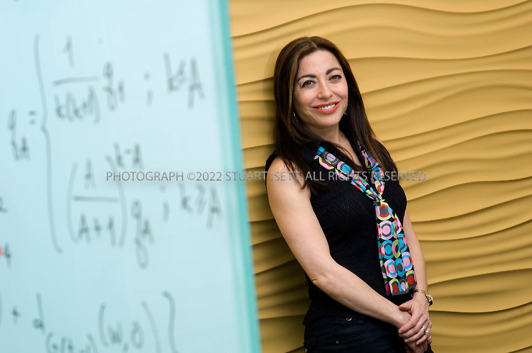 1/31/2008--Redmond, WA, USA..Jennifer Chayes, Managing Director, Microsoft Research New England, posing in the research building at Microsoft's Redmond campus, in Washington State. On the wall, Chayes has written a formula from her research on network growth models...©2008 Stuart Isett. All rights reserved.