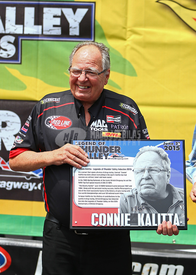 Jun 21, 2015; Bristol, TN, USA; NHRA Connie Kalitta receiving an award as he is inducted into the Legends of Thunder Valley hall of fame during the Thunder Valley Nationals at Bristol Dragway. Mandatory Credit: Mark J. Rebilas-