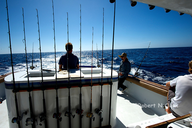 Offshore fishing off the coast of San Diego and Northern Baja California on the sport fisher Faith  Happy fishermen at the end of the day.