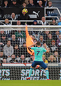 4th November 2017, St James Park, Newcastle upon Tyne, England; EPL Premier League football, Newcastle United Bournemouth; Rob Elliot of Newcastle United tips over a deflected shot with Marc Pugh of AFC Bournemouth close by in the first half