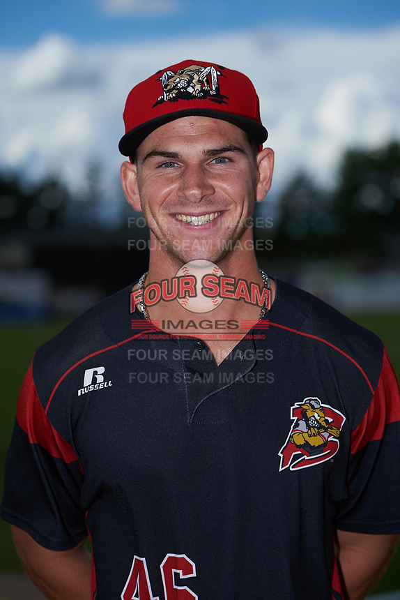 Batavia Muckdogs Mathew Brooks (46) poses for a photo before a game against the West Virginia Black Bears on June 26, 2017 at Dwyer Stadium in Batavia, New York.  Batavia defeated West Virginia 1-0 in ten innings.  (Mike Janes/Four Seam Images)