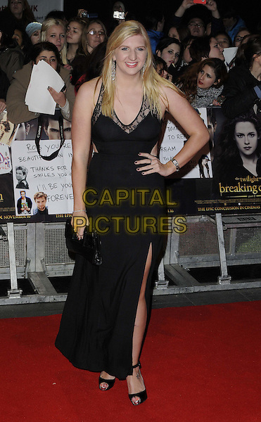 Rebecca Adlington.'The Twilight Saga: Breaking Dawn Part 2' European film premiere, Empire cinema, Leicester Square, London, England..14th November 2012.full length black lace dress hand on hip slit split clutch bag.CAP/CAN.©Can Nguyen/Capital Pictures.