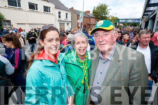 Denise Kelliher and Eileen Kelliher (Tralee) with Roger O'Halloran (Ballymacelligott), pictured at the All Ireland SFC quarter final Kerry v Galway in Croke Park, Dublin on Sunday.