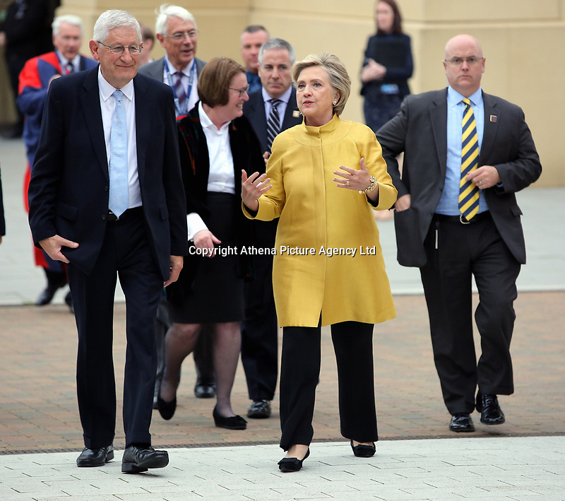 Pictured L-R: Professor Richard B Davies, Vice Chancellor of Swansea University and Hillary Clinton at Swansea University Bay Campus. Saturday 14 October 2017<br />
