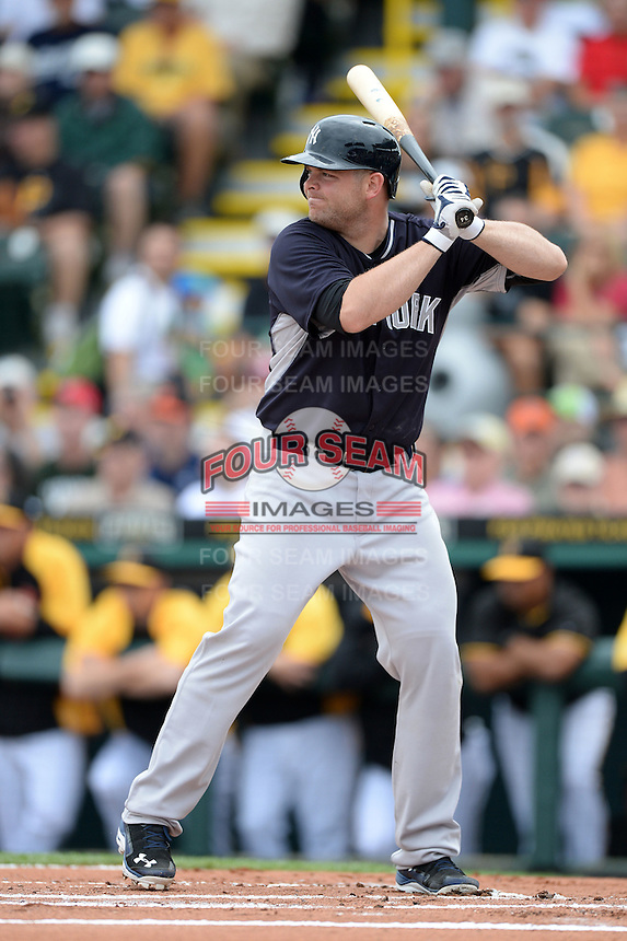 Catcher Brian McCann (34) of the New York Yankees during a spring training game against the Pittsburgh Pirates on February 26, 2014 at McKechnie Field in Bradenton, Florida.  Pittsburgh defeated New York 6-5.  (Mike Janes/Four Seam Images)