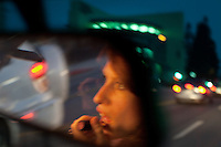 Los Angeles-based singer-songwriter Cameron Mesirow driving through her neighborhood in the Los Feliz section of Los Angeles, California, June 16, 2009. Mesirow created the musical project Glasser and has just released her first demo available only on vinal  or through iTunes.