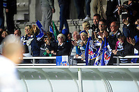 Bath Rugby supporters in the crowd celebrate the win. European Rugby Challenge Cup match, between Pau (Section Paloise) and Bath Rugby on October 15, 2016 at the Stade du Hameau in Pau, France. Photo by: Patrick Khachfe / Onside Images