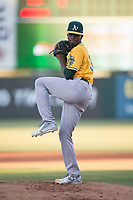 AZL Athletics starting pitcher Ismael Aquino (38) delivers a pitch during an Arizona League game against the AZL Angels at Tempe Diablo Stadium on June 26, 2018 in Tempe, Arizona. The AZL Athletics defeated the AZL Angels 7-1. (Zachary Lucy/Four Seam Images)