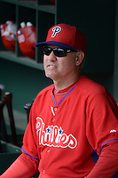 Philadelphia Phillies manager Ryne Sandberg (23) before a spring training game against the Baltimore Orioles on March 7, 2014 at Ed Smith Stadium in Sarasota, Florida.  Baltimore defeated Philadelphia 15-4.  (Mike Janes/Four Seam Images)