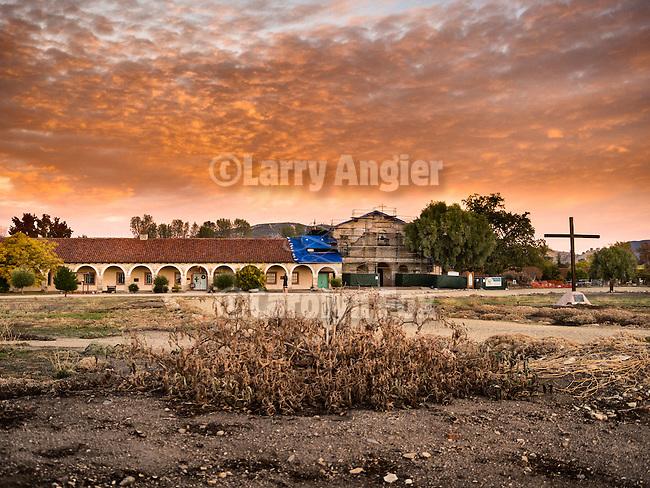 Dawn, front fa&ccedil;ade, Historic Mission San Antonio de Padua, 3rd of the Father Serra Mission, 1771, Monterey County, Calif.<br /> <br /> Fall 2014 earthquake retrofit