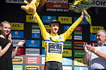 Race leader Adam Yates (GBR) Mitchelton-Scott retains the Yellow Jersey at the end of Stage 5 of the Criterium du Dauphine 2019, running 201km from Boen-sur-Lignon to Voiron, France. 13th June 2019.<br /> Picture: Mario Stiehl/Radsport | Cyclefile<br /> All photos usage must carry mandatory copyright credit (© Cyclefile | Mario Stiehl/Radsport)