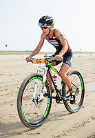 13 JUL 2013 - DEN HAAG, NED - Lesley Paterson (GBR) of Great Britain races along the beach during the bike at the 2013 ITU Elite Women's Cross Triathlon World Championships in Kijkduin, Den Haag (The Hague), the Netherlands (PHOTO COPYRIGHT © 2013 NIGEL FARROW, ALL RIGHTS RESERVED)