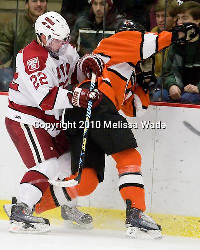 David Valek (Harvard - 22), Jody Pederson (Princeton - 3) - The Princeton University Tigers defeated the Harvard University Crimson 2-1 on Friday, January 29, 2010, at Bright Hockey Center in Cambridge, Massachusetts.