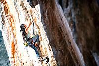 Daila Ojeda climbing Bert 7b+ at the Elona wall, Leonido, Greece