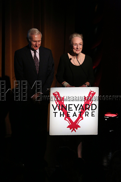 Kathleen Chalfant on stage at the Vineyard Theatre 2017 Gala at the Edison Ballroom on March 14, 2017 in New York City.