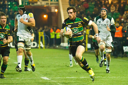 Jon Clarke breaks the Irish defence on the way to scoring his side's third try.  Northampton Saints v London Irish, Aviva Premiership, 26 November 2010 at Franklin's Gardens.  Final score: Northampton Saints 35-23 London Irish.