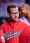 15 April 2018: Washington Nationals Head Athletic Trainer Dale Gilbert watches play from the dugout during a game against the Colorado Rockies at Nationals Park in Washington, DC. The Rockies edged out the Nationals 6-5 to take the final game of their 4-game series. Mandatory Credit: Ed Wolfstein Photo *** RAW (NEF) Image File Available ***