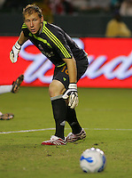 CD Chivas USA Goal Keeper Brad Guzan (18) looks at a ball as it slides wide of the goal late in the second half. CD Chivas USA defeated the LA Galaxy in the Super Clasico 3-0 at the Home Depot Center in Carson, CA, Thursday, September 13, 2007.