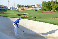 Lucas Bjerregaard (DEN) on the 18th bunker during the 1st round of the DP World Tour Championship, Jumeirah Golf Estates, Dubai, United Arab Emirates. 15/11/2018<br /> Picture: Golffile | Fran Caffrey<br /> <br /> <br /> All photo usage must carry mandatory copyright credit (© Golffile | Fran Caffrey)