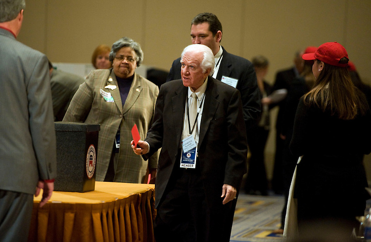 UNITED STATES - JANUARY 14:  Lawrence Kadish of New York, casts his ballot for chairman of the Republican National Committee (RNC) during the RNC's 2011 Winter Meeting held at the Gaylord National Resort & Convention Center in National Harbor, MD.  The general session took place in the morning and the election for RNC chairman took place in the afternoon.  (Photo By Tom Williams/Roll Call)