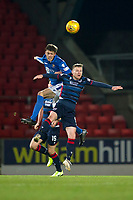 29th December 2019; McDairmid Park, Perth, Perth and Kinross, Scotland; Scottish Premiership Football, St Johnstone versus Ross County; Murray Davidson of St Johnstone competes in the air with Billy McKay of Ross County  - Editorial Use